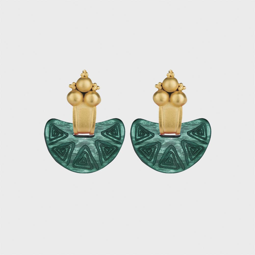 ONLINE EXCLUSIVE | Nostra Terra Earrings ( Green x Gold )