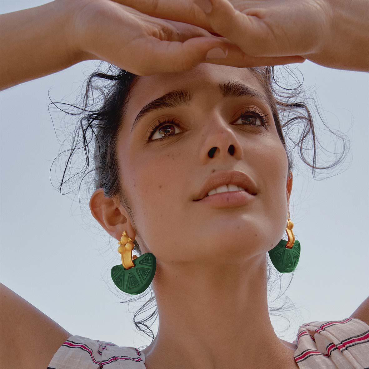 ONLINE EXCLUSIVE   Nostra Terra Earrings ( Green x Gold )